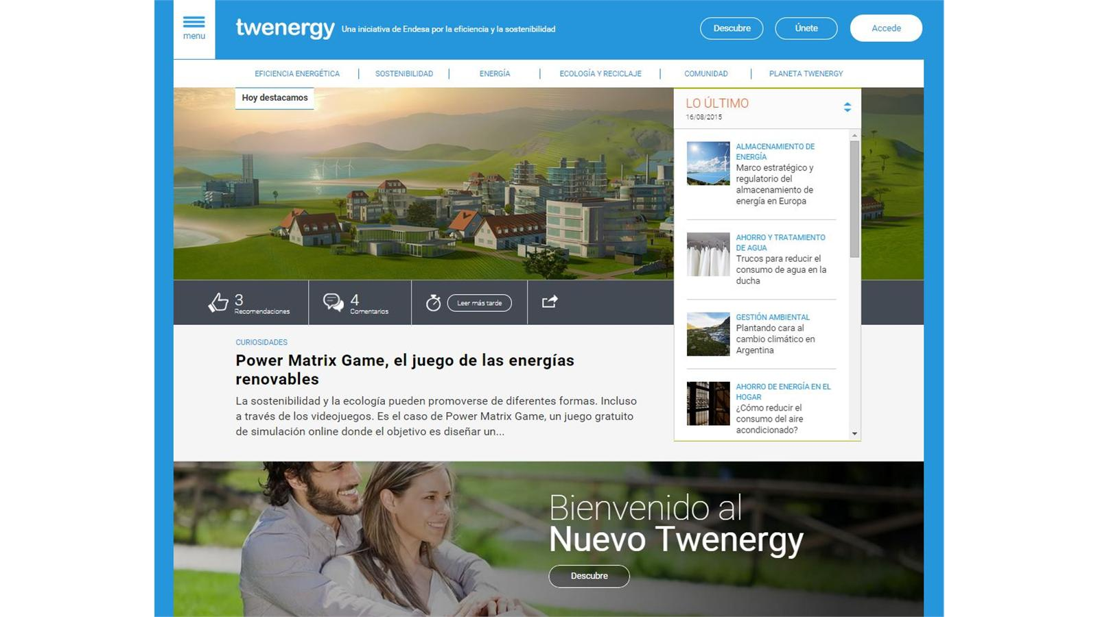 Twenergy.com, Endesa's website for promoting energy efficiency and responsible energy consumption, has now reached over 11.4 million visits