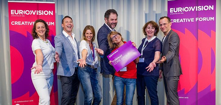 Format Core Group 2014: From left to right: Anne Brochot (EBU), Richard Hastings (BBC), Bettina Brinkmann (EBU), Markus Sterky (Chairman SVT), Anne Kornmann (EBU), Grainne McAleer (RTE), Panagiotis Trakaliaridis (ZDF)