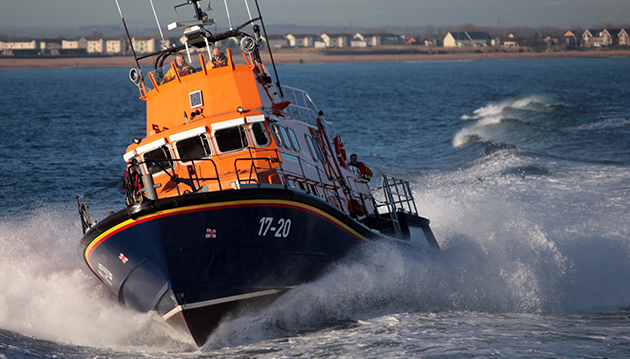 Tynemouth RNLI Severn class all weather lifeboat 'Spirit of Northumberland' off the North East coast in January 2015. Please credit: Adrian Don