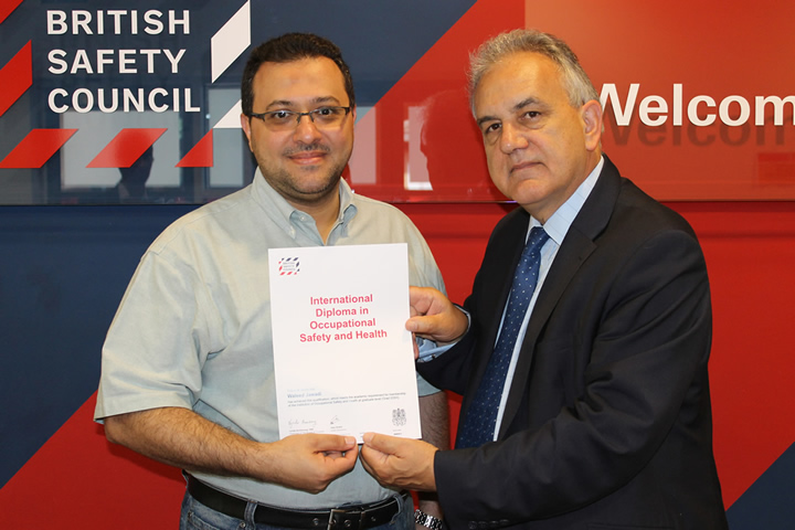 Saudi Electricity Company manager Waleed Al-Jawadi becomes the first company employee to pass the British Safety Council's international safety diploma