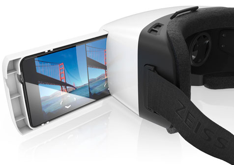 Simply place a smartphone into a tray and slide it into the ZEISS VR ONE the Virtual Reality headset.