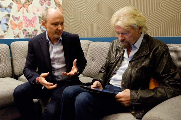 Richard Branson & Rod Bristow, President of Pearson UK, sign the world's largest petition, on behalf of the 757m people who can't read or sign their name (Owen Billcliffe photography)