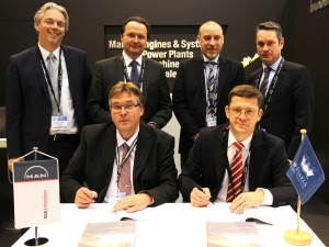 Pictured at the signing at Europort were (front, left to right) Dr Thomas Spindler (Head of Upgrades & Retrofits, MAN PrimeServ Four-Stroke) and Christian Hoepfner (Wessels Reederei GM); (back, left to right) Marcel Lodder (Project Engineer, Upgrade & Retrofit, MAN PrimeServ), Stefan Eefting (Vice President, MAN PrimeServ), Rainer Runde (Project Manager, Wessels Reederei), and Gerd Wessels (Managing Partner – Wessels Reederei)