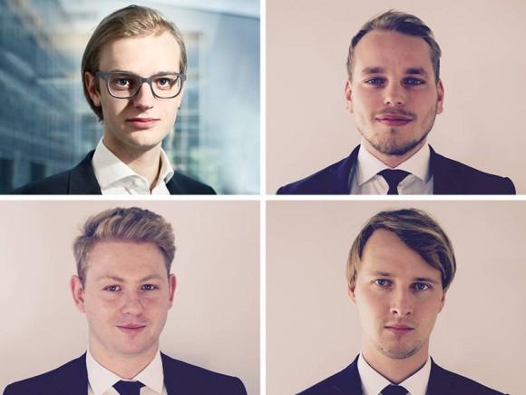"They belong to the top ""30 Under 30"": Alexander Rinke (Celonis), Sinan Denemec, Moritz Knoblauch, and David Fehrenbach (iuvas) (clockwise from top left). (Photos: Celonis, iuvas)"