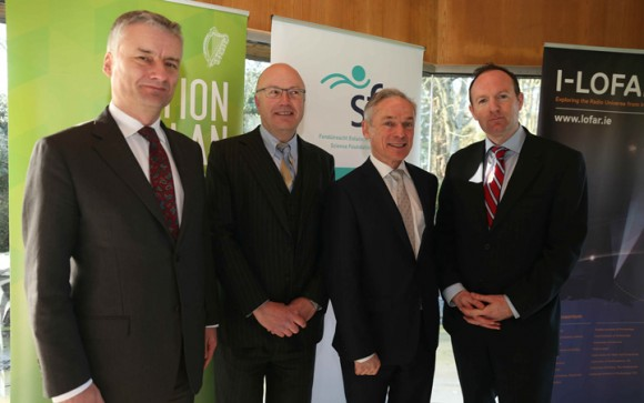 Pictured at the launch (L-R): Provost Patrick Prendergast, Mark Ferguson of SFI, Richard Bruton and Professor Peter Gallagher