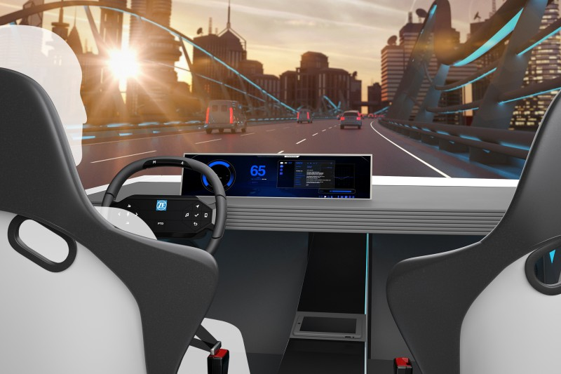 The ZF Concept Cockpit showcases four practical integrated innovations, including a special steering wheel with hands on/off detection, a touch display with realistic key simulation, a new, highly precise facial and emotion recognition feature, and actively responsive and communicating seat belts.