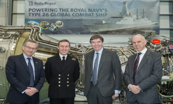 Picture shows (Left to Right) Tomas Leahy, Rolls-Royce Director EMEA Programmes – Naval, Commodore Paul Methven, Philip Dunne MP, Minister for Defence Procurement, Geoff Searle, BAE Systems, Programme Director Type 26 Global Combat Ship