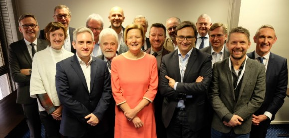 Founders of the European Digital Radio Alliance. Left to right: Mariano Tschuor (SRG SSR), Edita Kudláčová (Czech Radio), Willi Schreiner (Die Neue Welle), James Rea (Global) Heinz-Dieter Sommer (ARD), Willi Steul (Deutschlandradio), Wolfgang Struber (Radio Arabella), Helen Boaden (BBC), Marc Savary (SRG SSR), Steve Parkinson (Bauer), Jan Westerhof (NPO), Francis Goffin (RTBF), Graham Ellis (BBC), Graham Dixon (EBU), Marius Lillelien (NRK), Jean Philip De Tender (EBU).