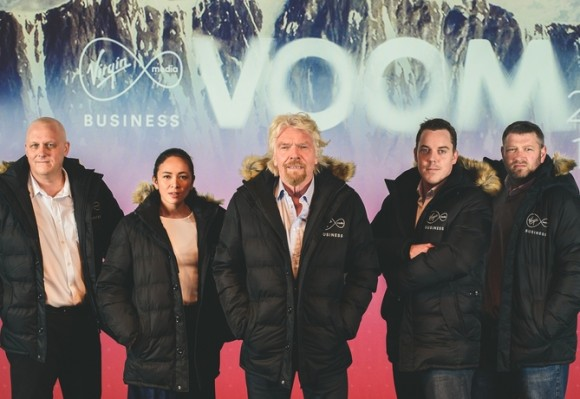 Sir Richard Branson with winners of Pitch to Rich 2015 - Jeff Patterson (Fourex), Gem Misa (Cauli Rice), Colin Hegarty (Hegarty Maths), Dan Cludenay (Approved Food) - at launch of TV commercial for Virgin Media Business VOOM 2016, at Mayfair Theatre, London