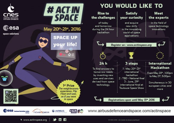 #ActInSpace contest to take place on 20 and 21 May 2016 in about 30 cities across Europe