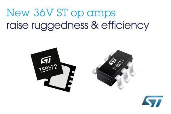 STMicroelectronics introduces two 36V op amps with enhanced performance and ruggedness for automotive and industrial applications