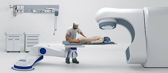 The Leoni Orion System has key advantages in optimized safety for both patients and radiotherapy staff. Additionally, the Leoni Orion System makes automated positioning adjustments possible in 6 degrees of freedom, to optimize the tumor's location under the precise IBA proton treatment beam.