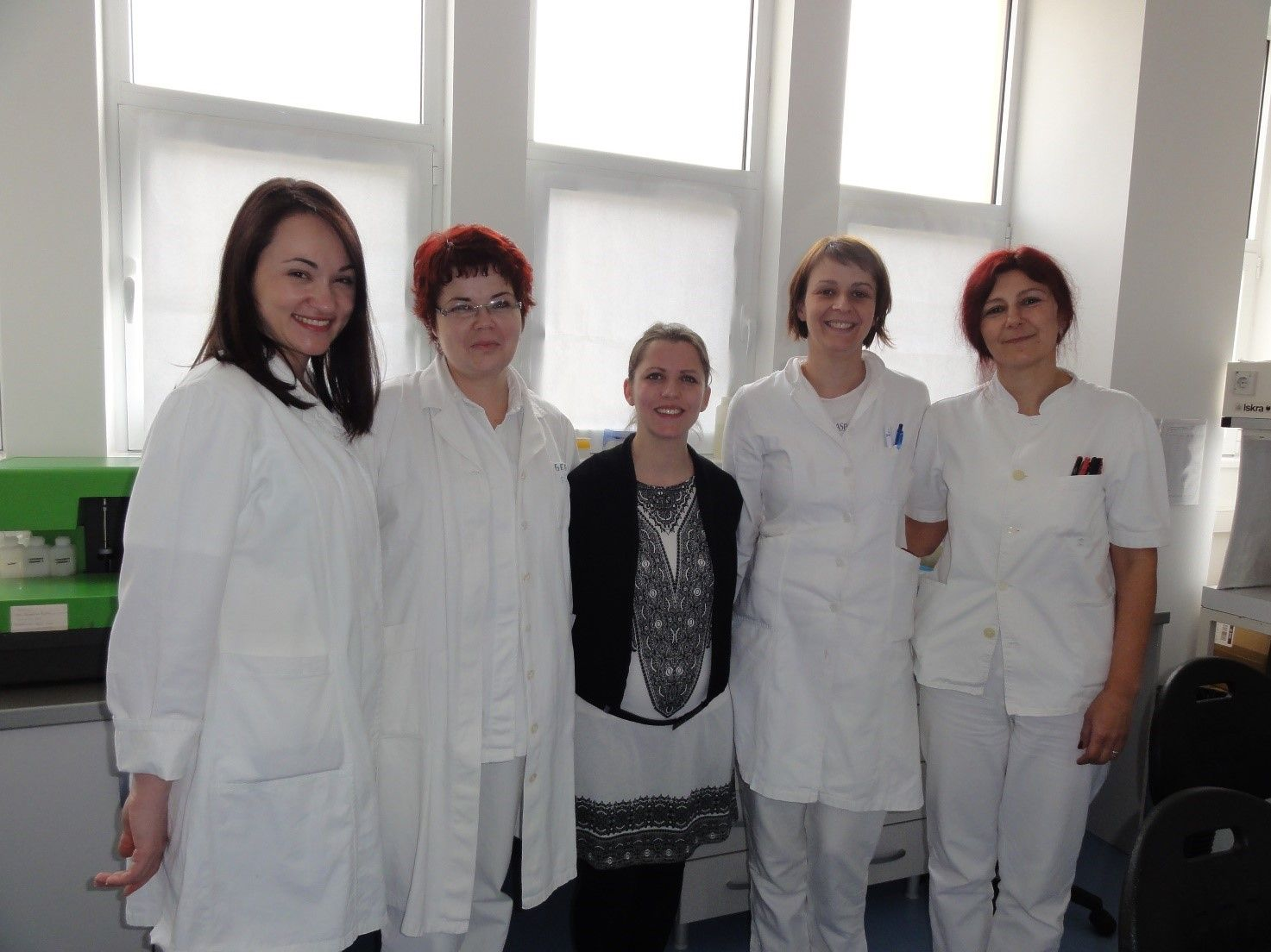 From left to right: Dr Maja Bancevic (Head of the National Reference Laboratory for Measles and Rubella in Serbia), Jelena Mitrovic (technician at Torlak Institute of Virology, Vaccines and Sera), Emilie Charpentier (LIH techician), Dr Jelena Protic (Head of laboratory at Torlak Institute of Virology, Vaccines and Sera) and Ana Novakovic (technician at Torlak Institute of Virology, Vaccines and Sera)..