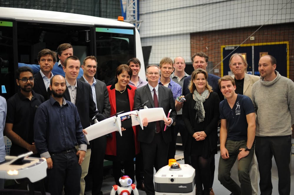 Pierre Nanterme, chairman and CEO of Accenture, visits with RoboValley robotics researchers in Delft, the Netherlands