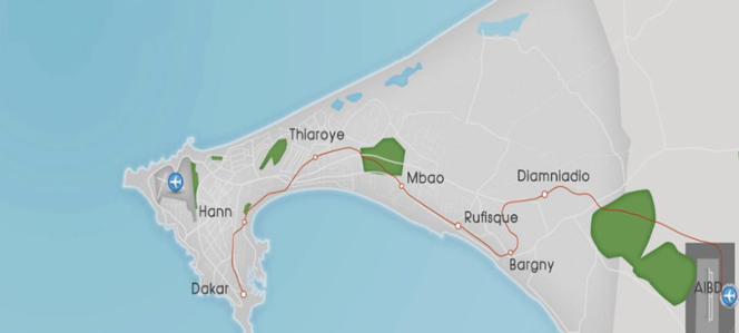 The link will be built in two phases: city of Dakar - Diamniadio (36 km), and city of Diamniadio - Blaise Diagne International Airport (19 km).