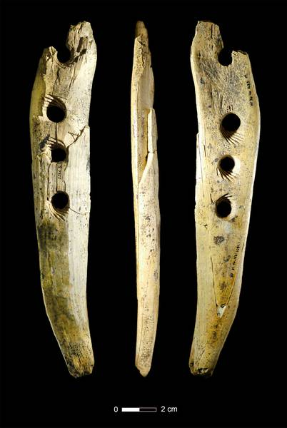 Rope making tool from mammoth ivory from Hohle Fels Cave in southwestern Germany, ca. 40,000 years old. Photo: Copyright University of Tübingen