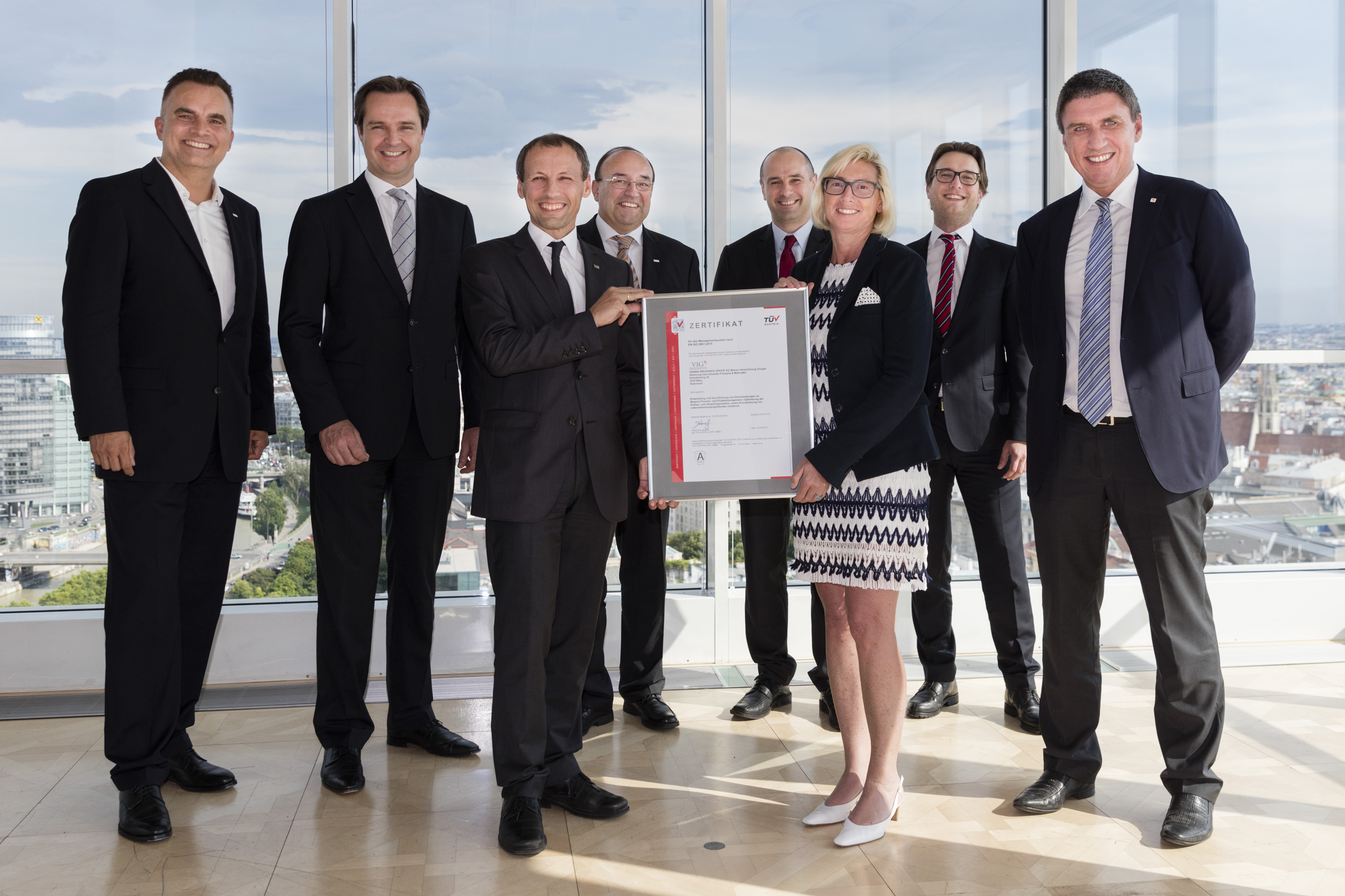 Photo credit: Sebastian Philipp Caption: VIG is presented with the quality management certificate (from left to right): Karl Wagner (CEO, Procon), Rob Bekkers (CEO, TÜV Austria CERT since 1 July 2016), Stefan Wallner (CEO, TÜV Austria CERT until 30 June 2016), Christian Völk (Senior Consultant, Procon), Christian Walter (Head of VIG International Processes and Methods), VIG CEO Elisabeth Stadler, Alexander Mayer (VIG International Processes and Methods), VIG Managing Board Member Roland Gröll