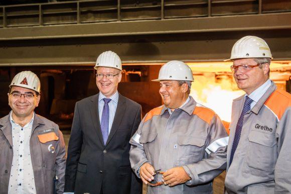 Bundeswirtschaftsminister und Vizekanzler Sigmar Gabriel hat Salzgitter Flachstahl GmbH besucht