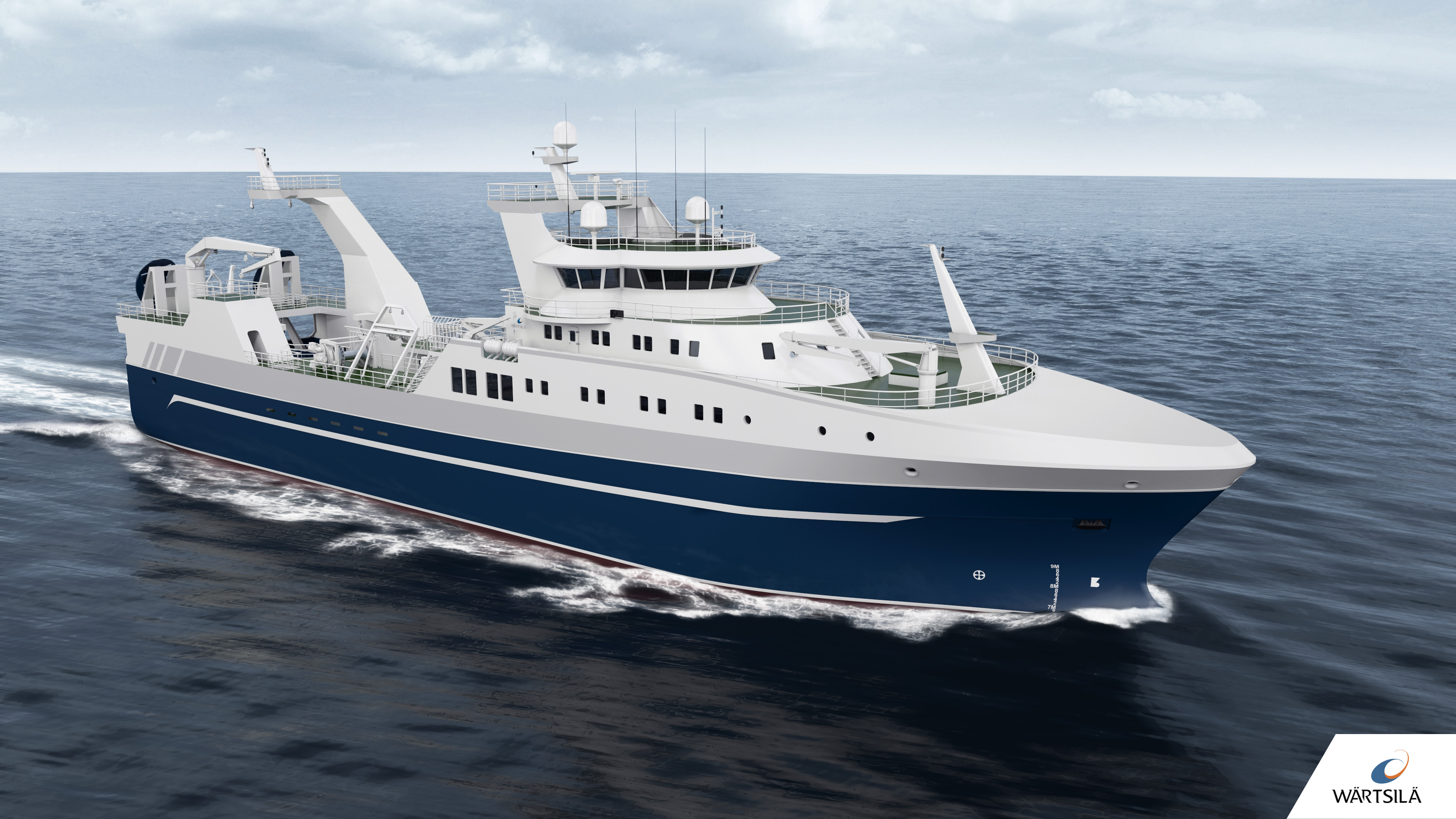 Caption: The new optimised stern trawler designed by Wärtsilä will reduce fuel consumption and notably increase overall vessel efficiency compared to currently available designs.