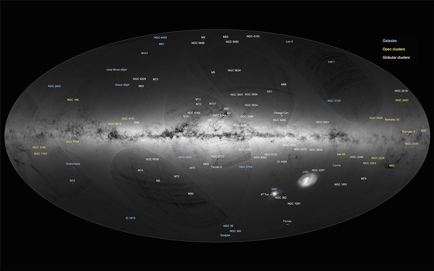 Gaia's first sky map, annotated (Credit: ESA/Gaia/DPAC)