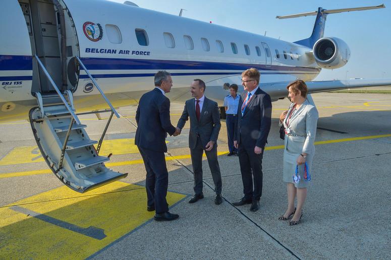 NATO Secretary General Jens Stoltenberg arrives in Bratislava and is welcomed by Tomas Valasek, NATO Permanent Representative for Slovakia