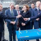 The management team of the Italian cable and wires manufacturer La Triveneta Cavi presents the company's products at the official opening of its Moldovan factory.