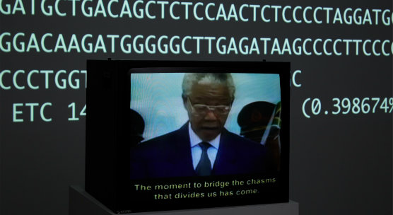 University of Dundee commissioned human genome artwork on display at the UK home of the Human Genome Project