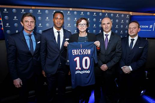 From left to right: Frederic Longuépée, Deputy General Manager at Paris Saint-Germain, Patrick Kluivert, Director of Football at Paris Saint-Germain, Helena Norrman, Senior Vice President and Chief Marketing and Communications Officer at Ericsson, Franck Bouetard, Head of Ericsson France, and Boris Serapian, Chief Information Officer at Paris Saint-Germain
