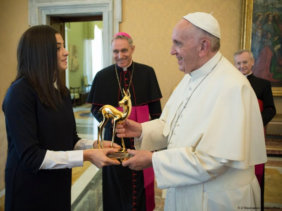 His Holiness Pope Francis presented with the Bambi award, a German media prize, in Rome