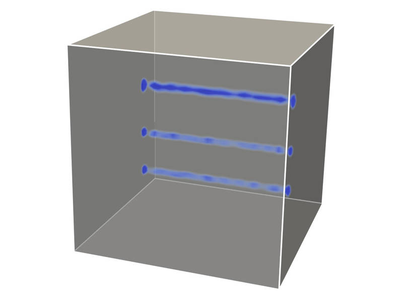 Computer simulation of ultrasound measurement of a concrete-cube. (Image: Chair for Computation in Engineering / TUM)