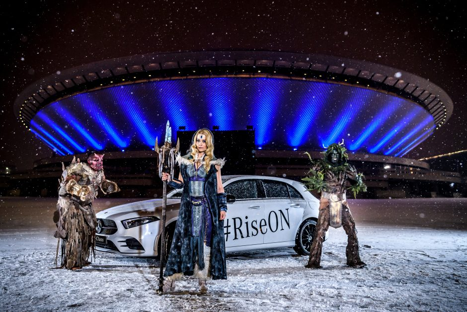 An Actor Dressed As Crystal Maiden And Two U201cCreepsu201d, Figures From The  Online Game Dota 2, Are Posing In Front Of A Mercedes Benz A Class And The  Spodek ...