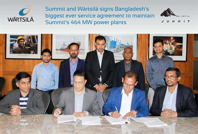 Eng Mozammel Hossain, Managing Director of Summit Gazipur II Power and Summit Ace Alliance Power (right) and Jillur Rahim, Managing Director of Wärtsilä Bangladesh (left) signed Bangladesh's biggest ever Maintenance agreements at Summit Centre, Dhaka. Image courtesy of Summit Group.