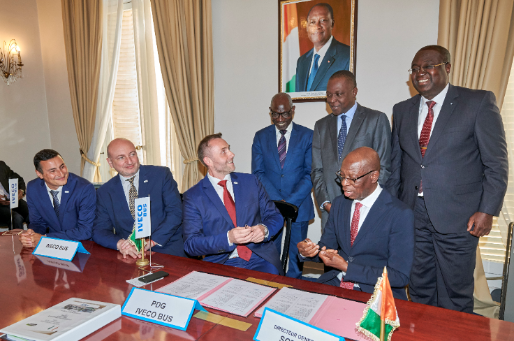 Attendees at the signing ceremony, which took place on July 5, 2019, were Amadou Kone, the Ivory Coast's Minister of Transport, Meité Bouaké, Director of SOTRA, and Sylvain Blaise, Head of the Global Bus Division at CNH Industrial
