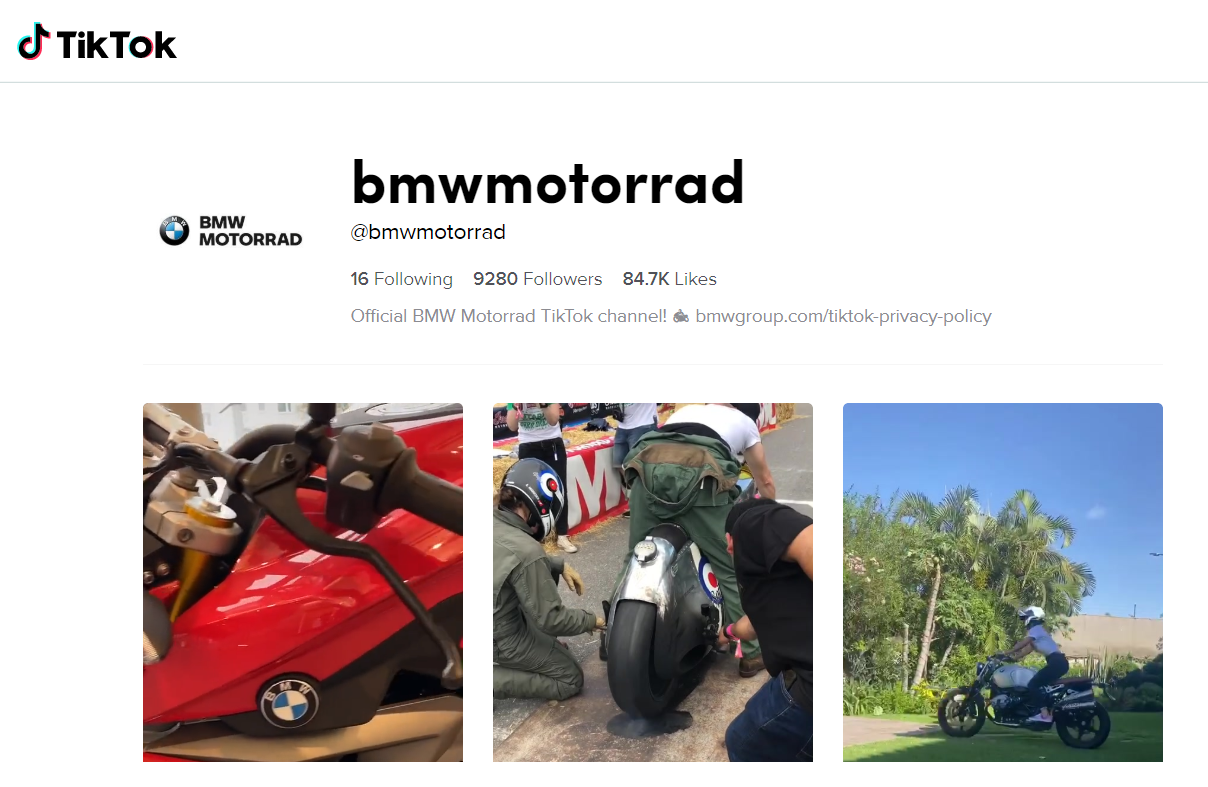 BMW Motorrad unveils its TikTok account aiming at Generation Z