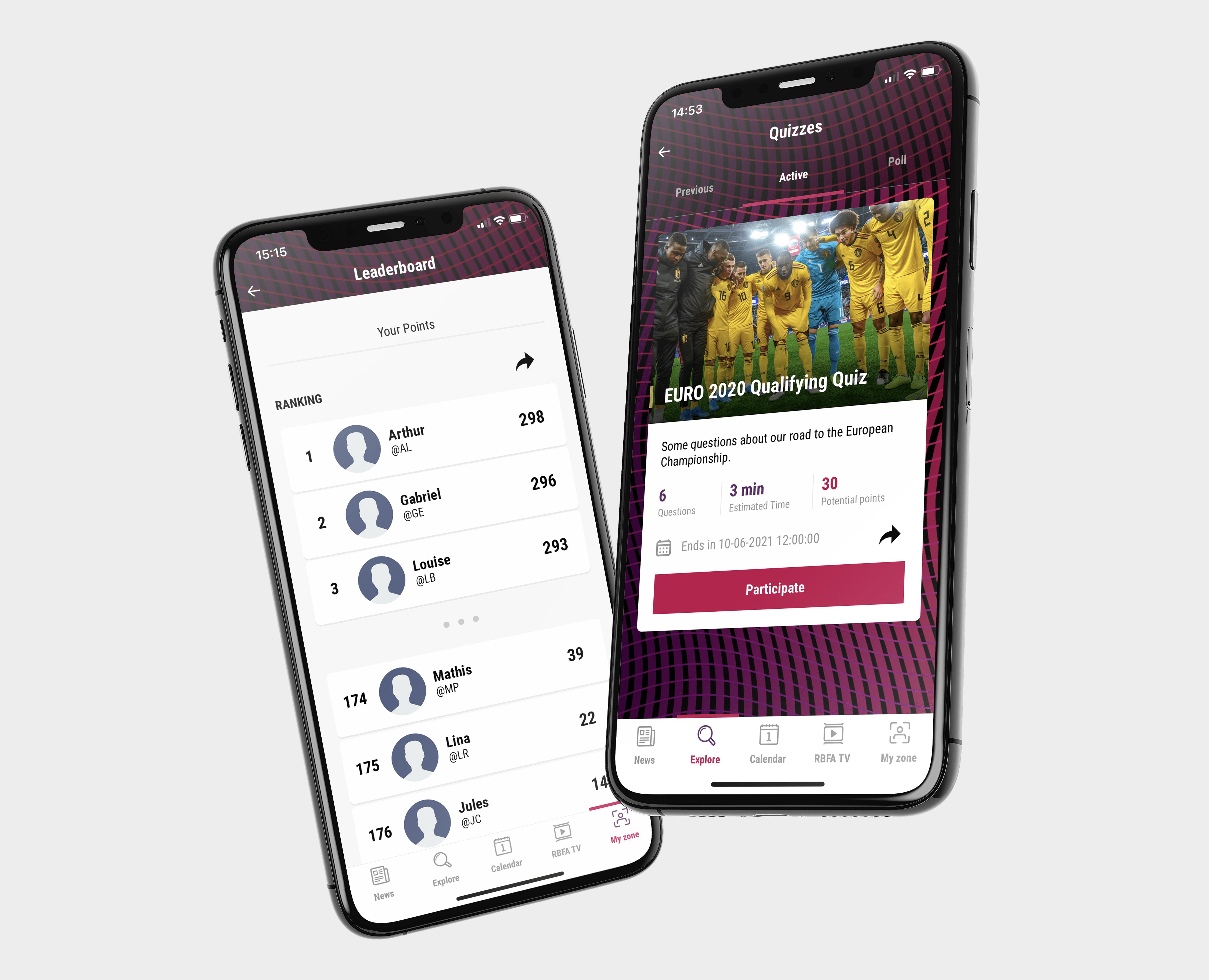 Die mobile App des Königlich Belgischen Fußballverbandes