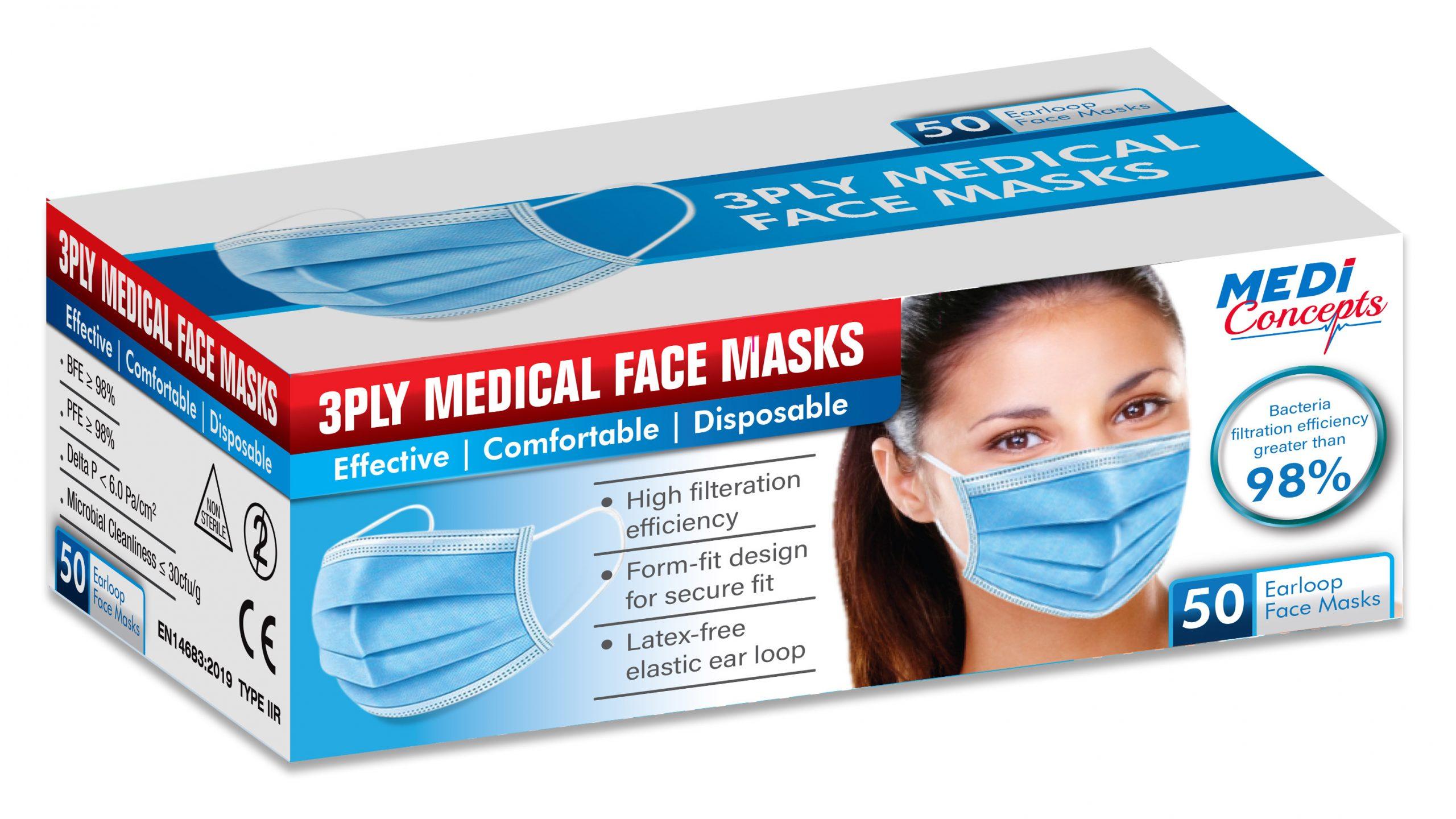 3PLY Medical Face Masks 3D BOX